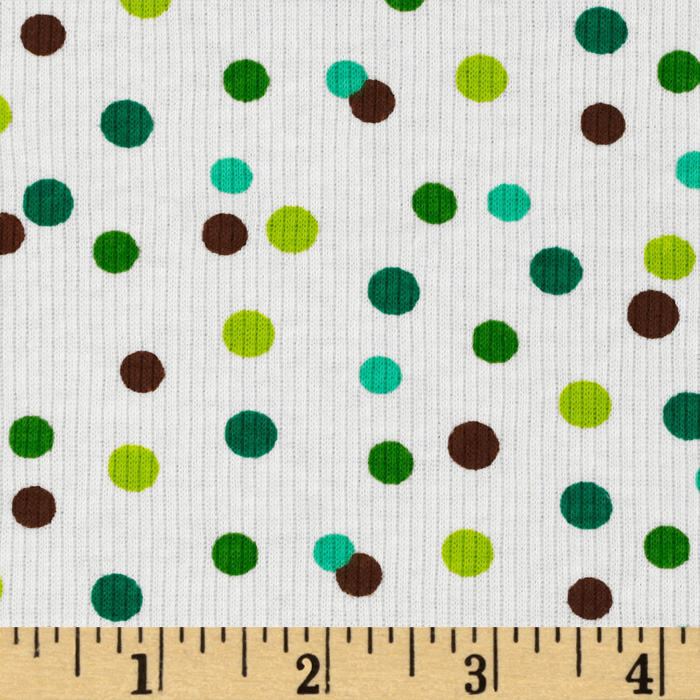 Rib Knit Dots Green/Brown Fabric