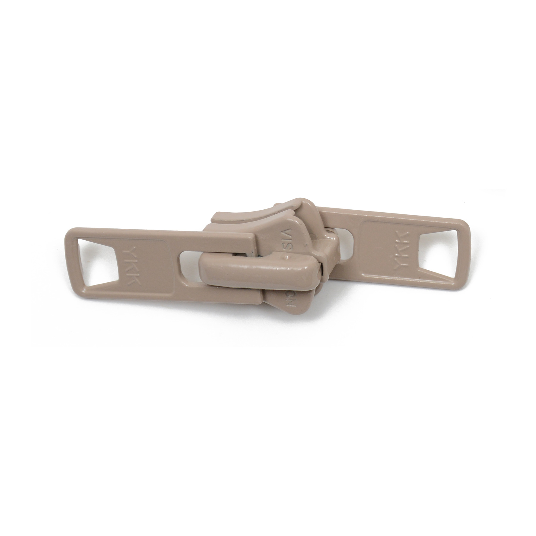 #10 YKK Vislon Locking 2-Tab Slider - Beige. 2 tab locking slider used with #10 beige Vislon zipper chain. This product is sold as a 25 pack.