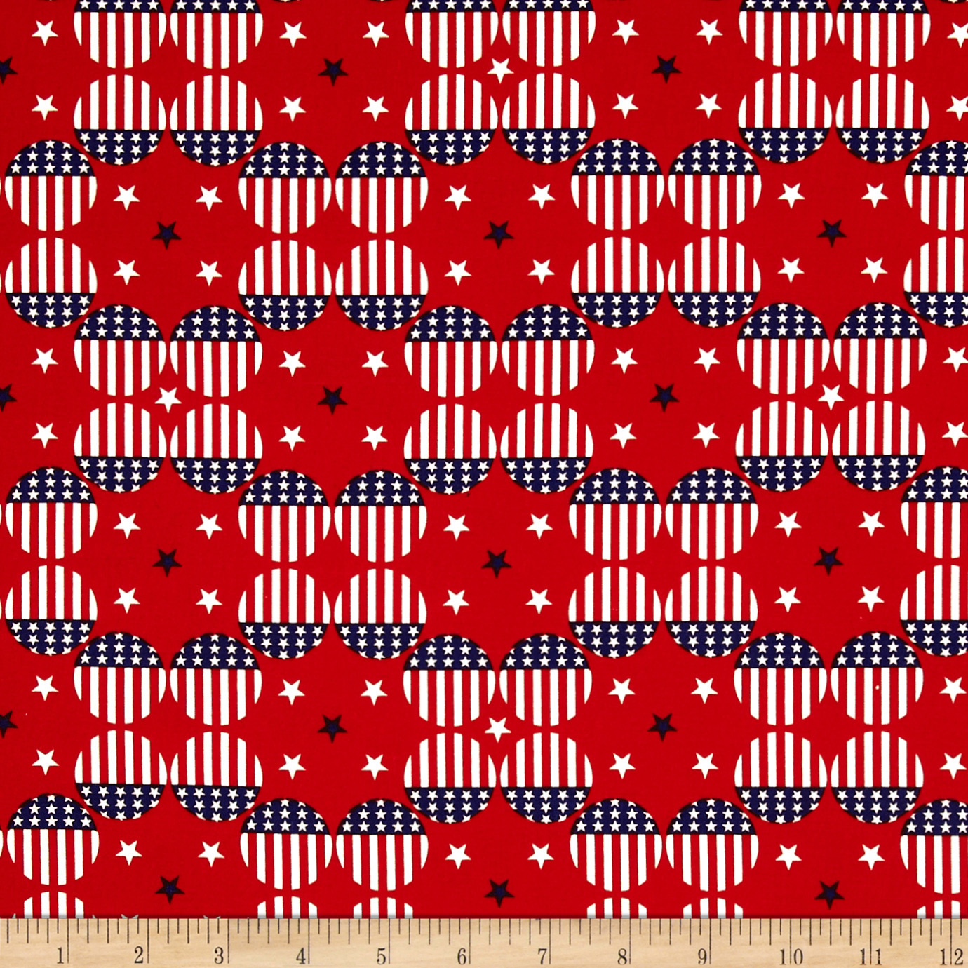 Stars & Stripes II Flag Dots Red/White/Blue Fabric