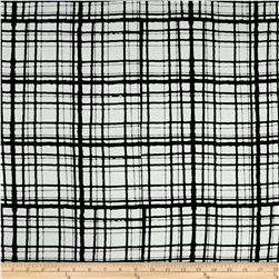 Rayon Challis Abstract Plaid Print Ivory/Black