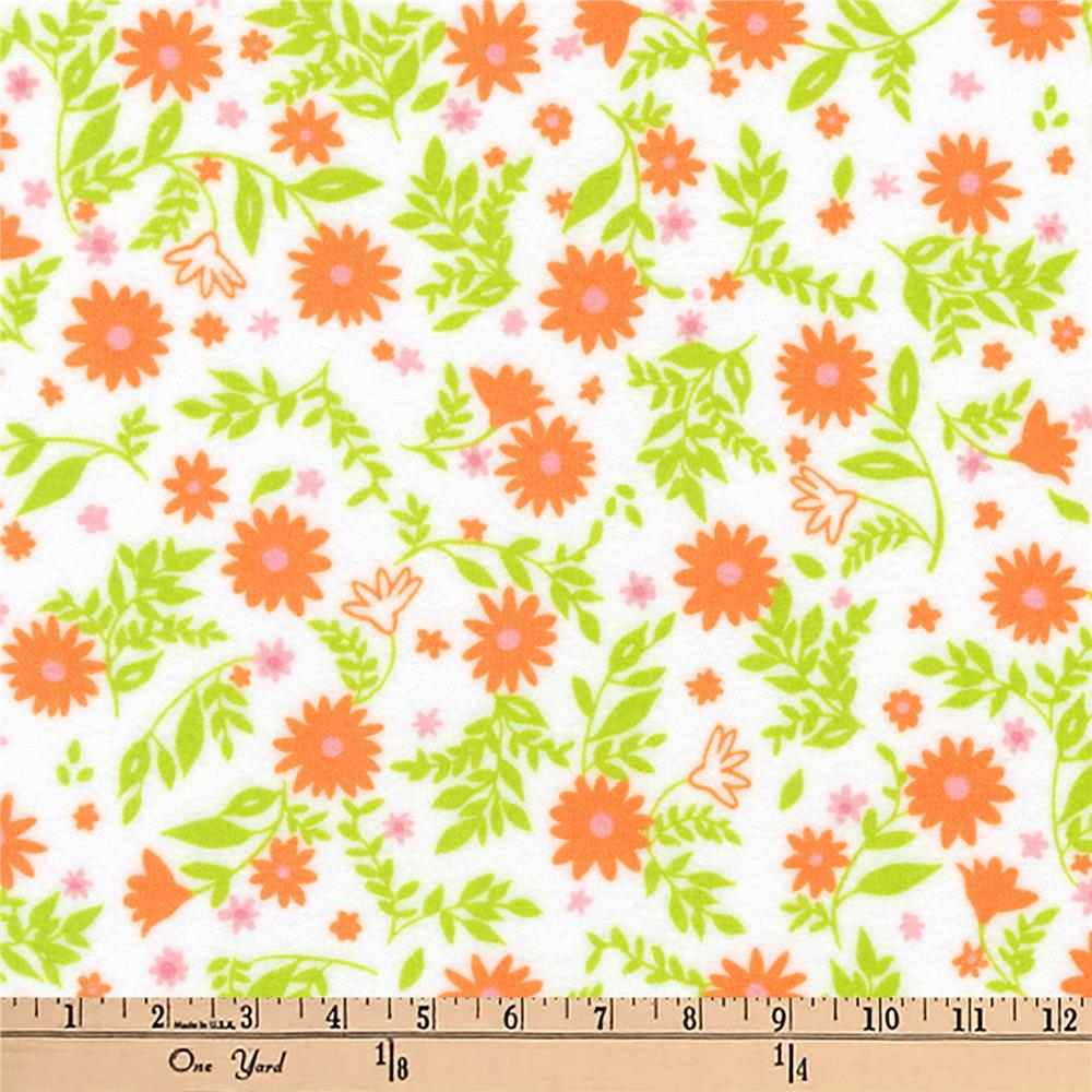 Kaufman Cozy Cotton Flannel Floral Orange Fabric