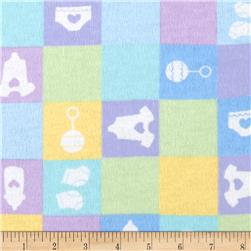 Newcastle Flannel Baby Checks Blue Fabric