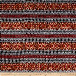 Rayon Challis Bohemian Floral Orange/Yellow/Black