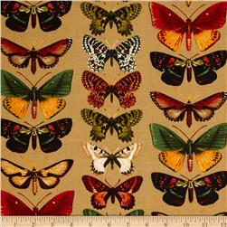 Kanvas Tropical Rainforest Butterfly Khaki Fabric