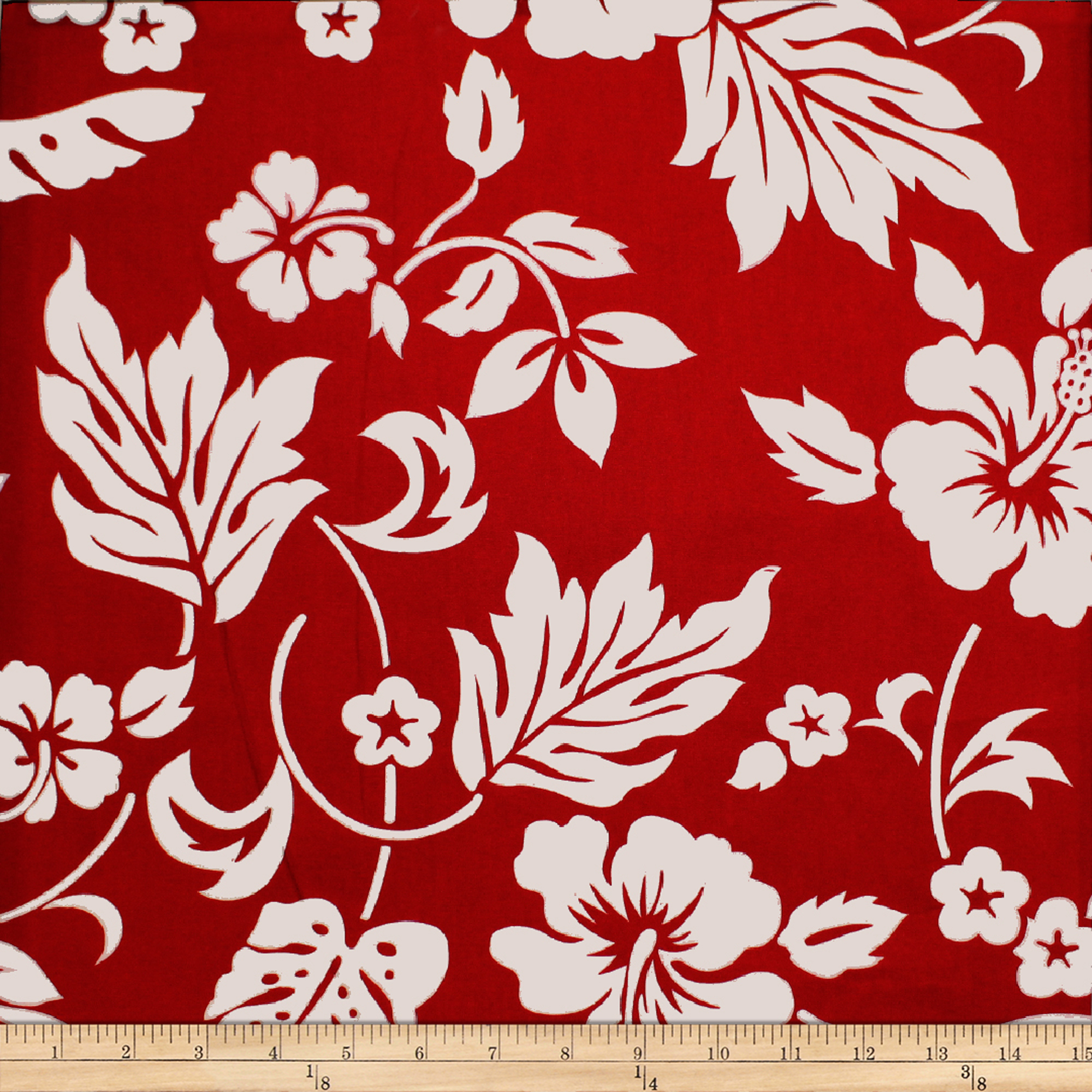 Trans-pacific Textiles Simple Hawaiian Pareau Hibiscus Red Fabric