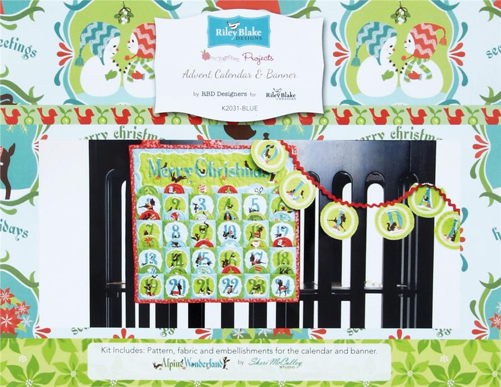 Riley Blake Advent Calendar & Banner Kit Blue