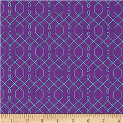 Michael Miller Emma's Garden Lovely Lattice Purple