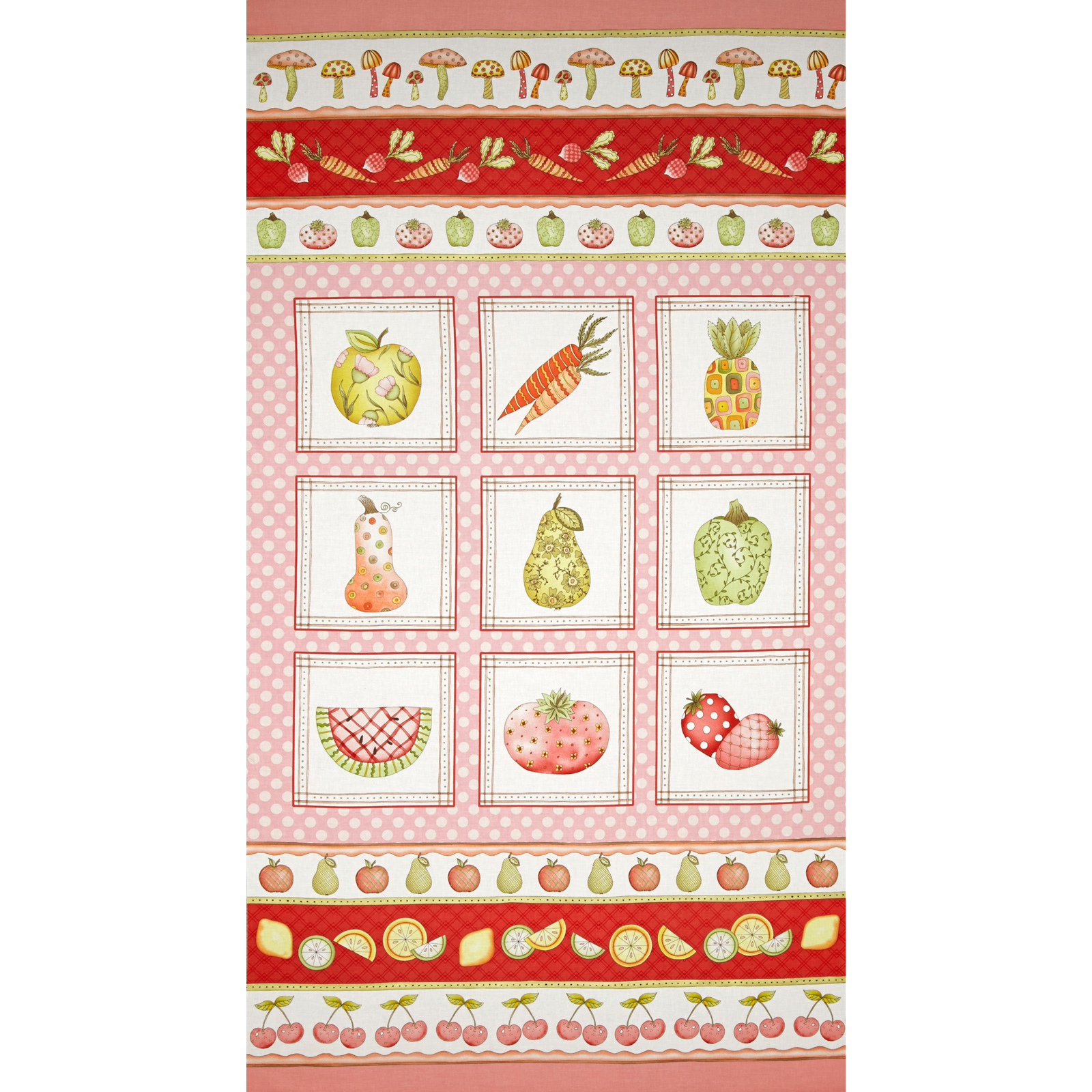 Fruitful Hands Panel Pink Fabric