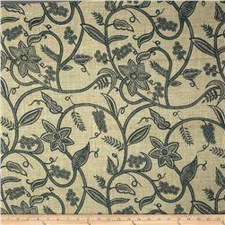 54'' Printed Burlap Vine Charcoal Fabric