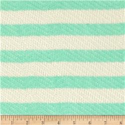 Lightweight Sweater Knit Medium Mint Stripes on Ivory