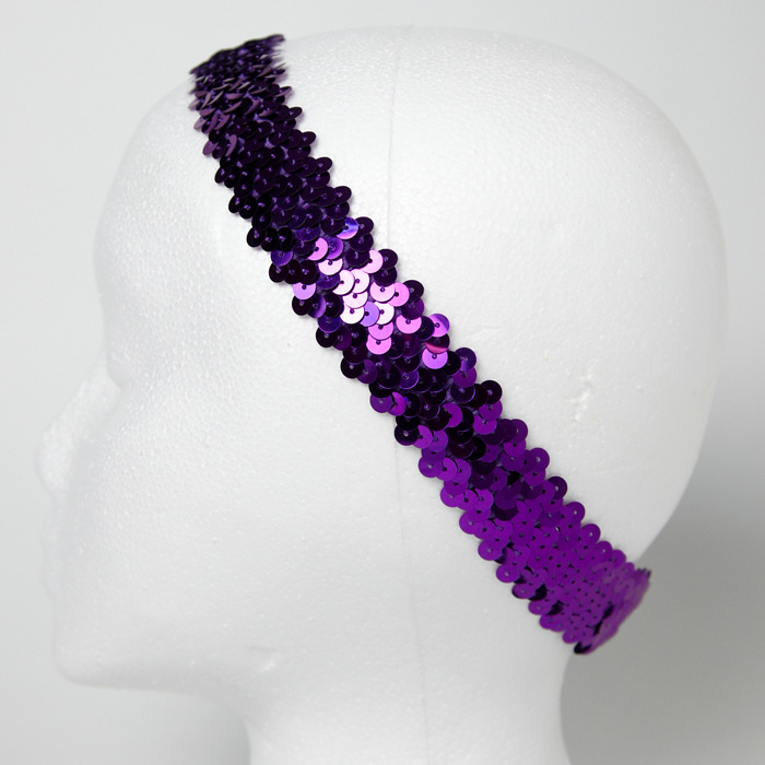 1 1/4'' Metallic Sequin Stretch Headband Purple