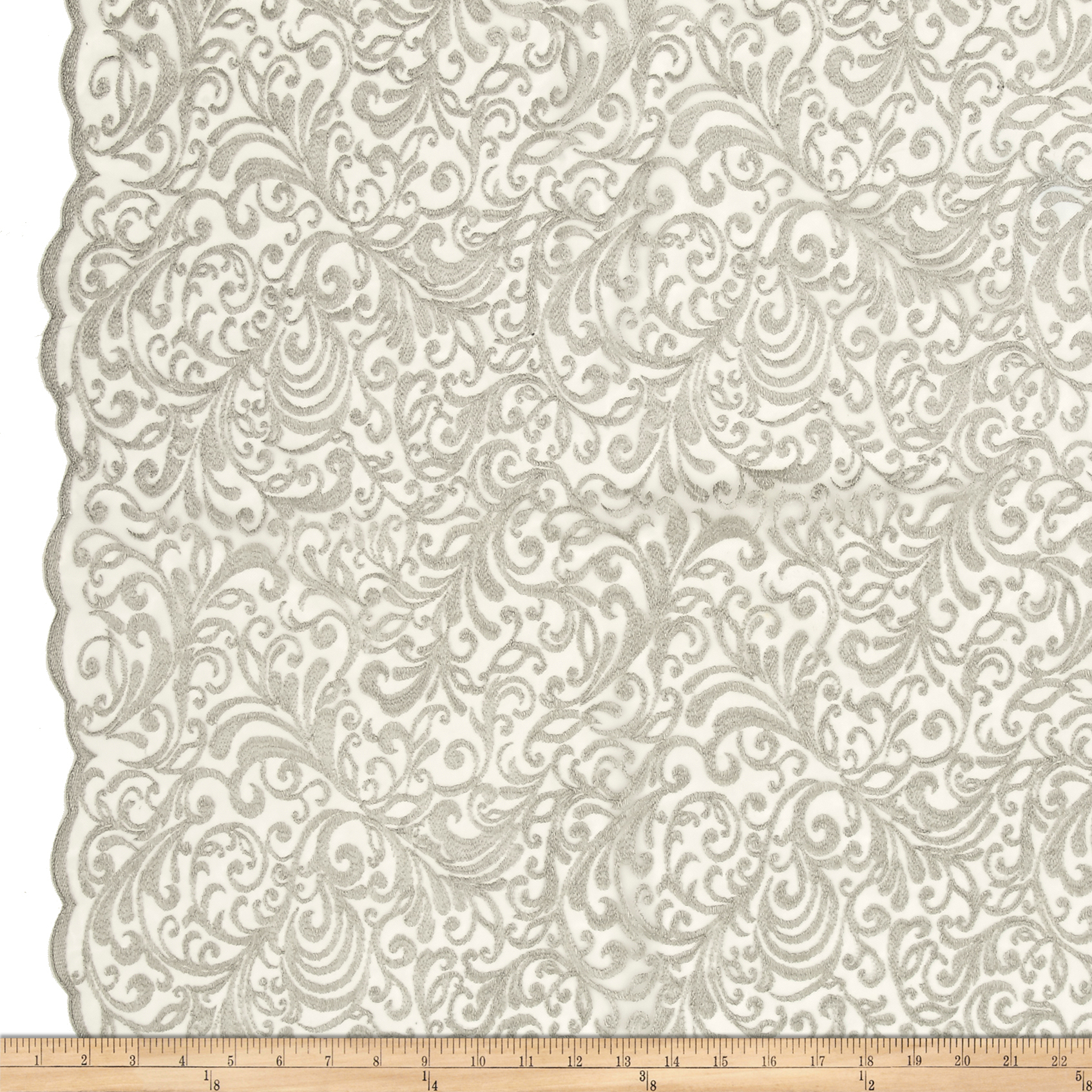 Telio Angelina Embroidery Mesh Lace Silver Fabric by Telio in USA