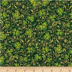 Shamrock Celebration Metallic Shamrocks Evergreen Fabric