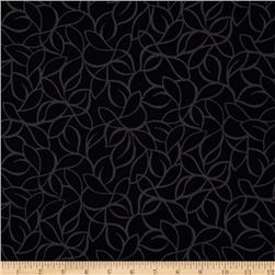 "108"" Wide Quilt Back Windsor Leaves Black"