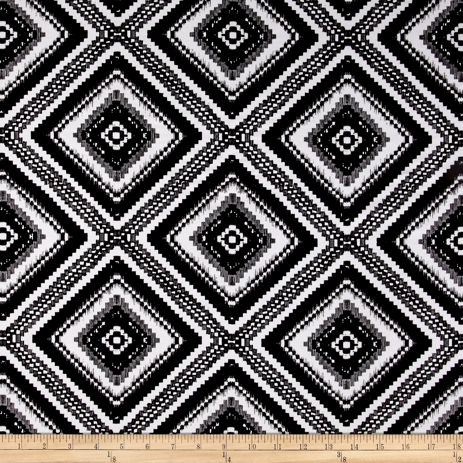 Rayon Challis Large White Diamond Deco Print On Black Fabric
