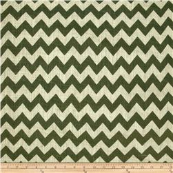 54'' Printed Burlap Chevron Olive Fabric