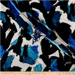 Telio Rayon/Nylon Velvet Burnout Abstract Royal/Teal