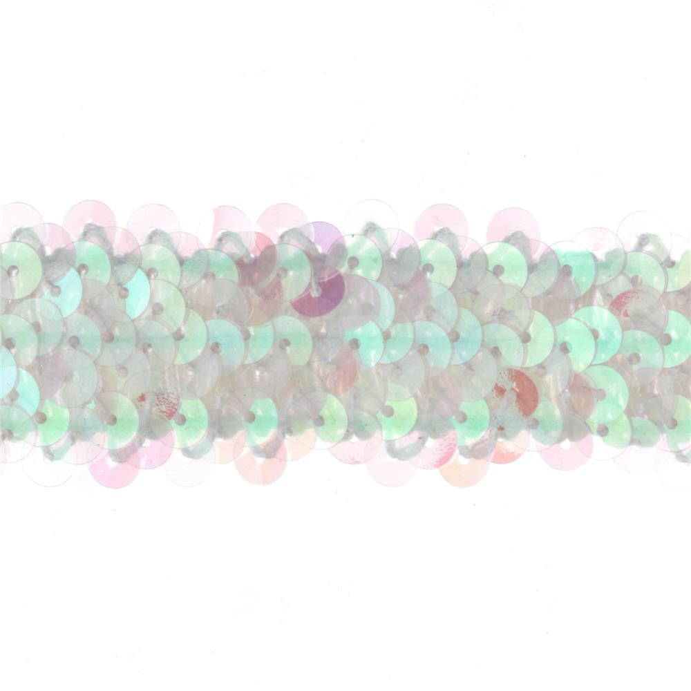 "1 1/4"" Metallic Stretch Sequin Trim Crystal Aurora Borealis"