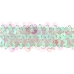 1 1/4'' Metallic Stretch Sequin Trim Crystal Aurora
