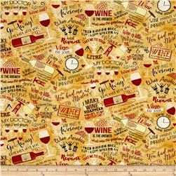 Timeless Treasures Wine Words Tan