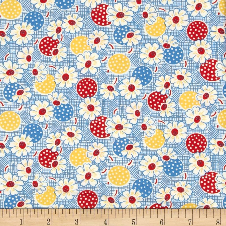Moda Fresh Air Polka Dot Daisy Blue