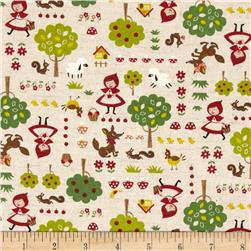 Kokka Bedtime Stories Cotton Linen Canvas Natural Fabric