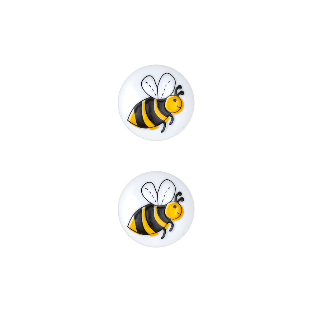 Dill Novelty Button 11/16'' Bee White
