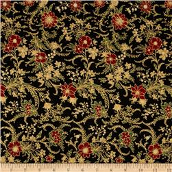 Berries and Blooms Metallic Christmas Floral Black/Gold
