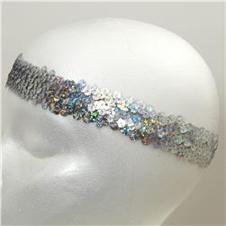 "1 1/4"" Hologram Stretch Sequin Headband  Silver"