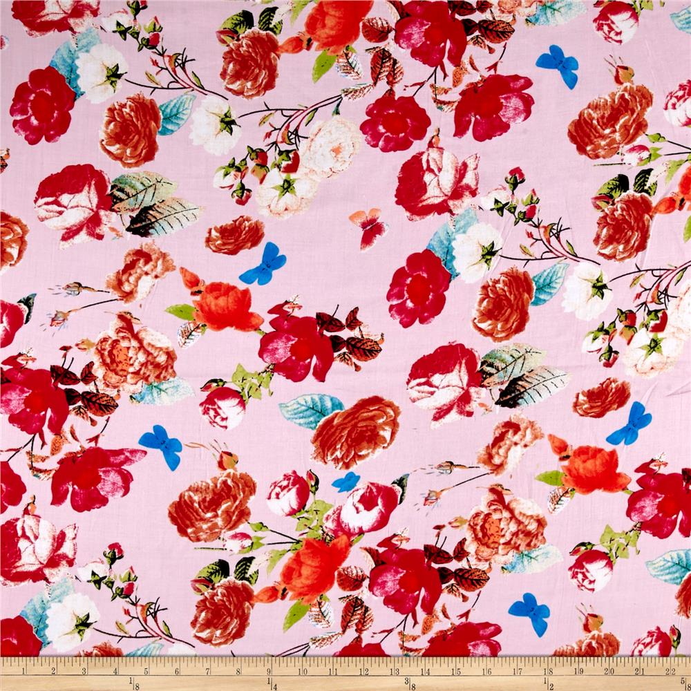 Rayon Challis Floral Red