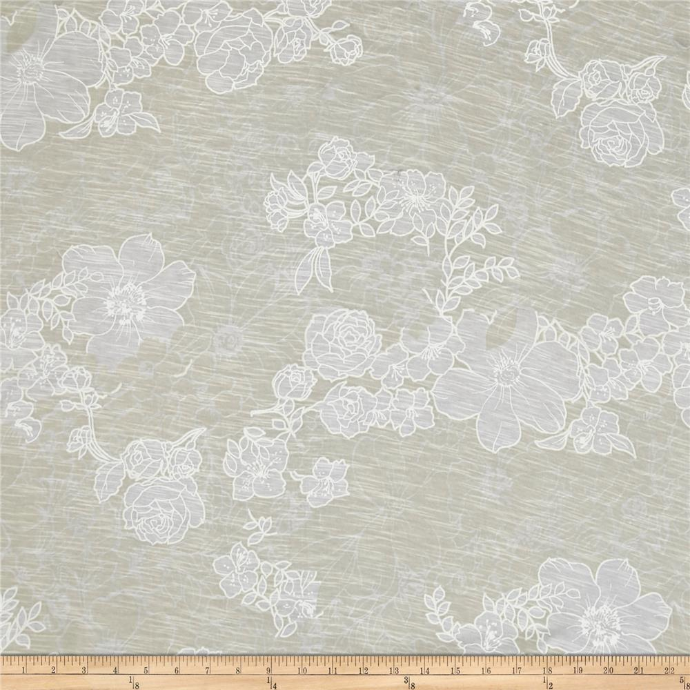 Jersey Knit White Wild Rose on Ivory