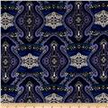 Stretch ITY Knit Damask Swirl Print Periwinkle Blue