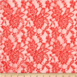 Stretch Floral Lace Coral