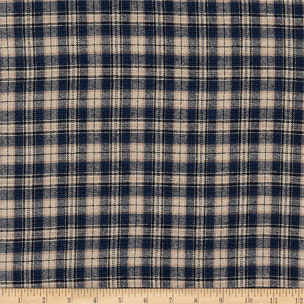 Yarn Dyed Flannel Plaid Navy Khaki Fabric