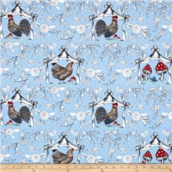 French Hen Good Day Toile Blue