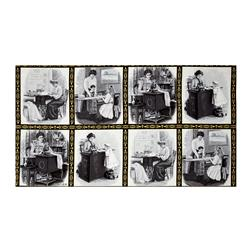 "Kaufman Sewing With Singer Metallic Scene Blocks 24"" Panel  Grey"