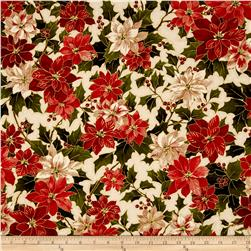 Moda Holly Night Metallic Poinsettia & Holly Cream