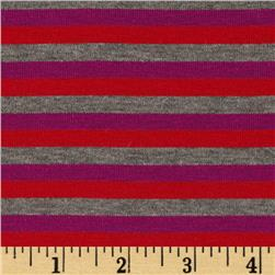 Designer Stretch Rayon Blend Knit Striped Red/Grey