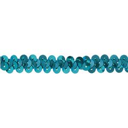 "3/8"" Stretch Metallic Sequin Trim Aqua Blue"