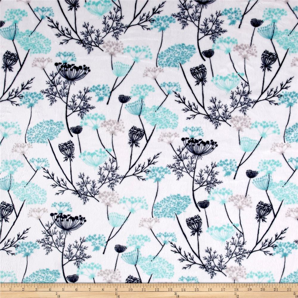 Shannon Minky Cuddle Queen Ann Lace Teal Fabric