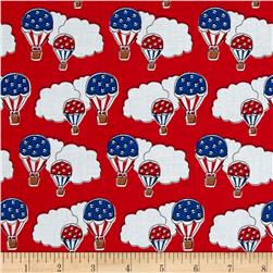 Storybook Americana Hot Air Balloons Red