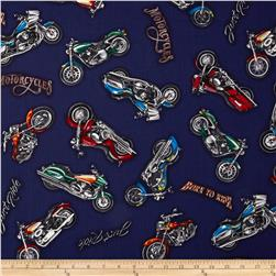 Born To Ride Motorcycles Navy Fabric