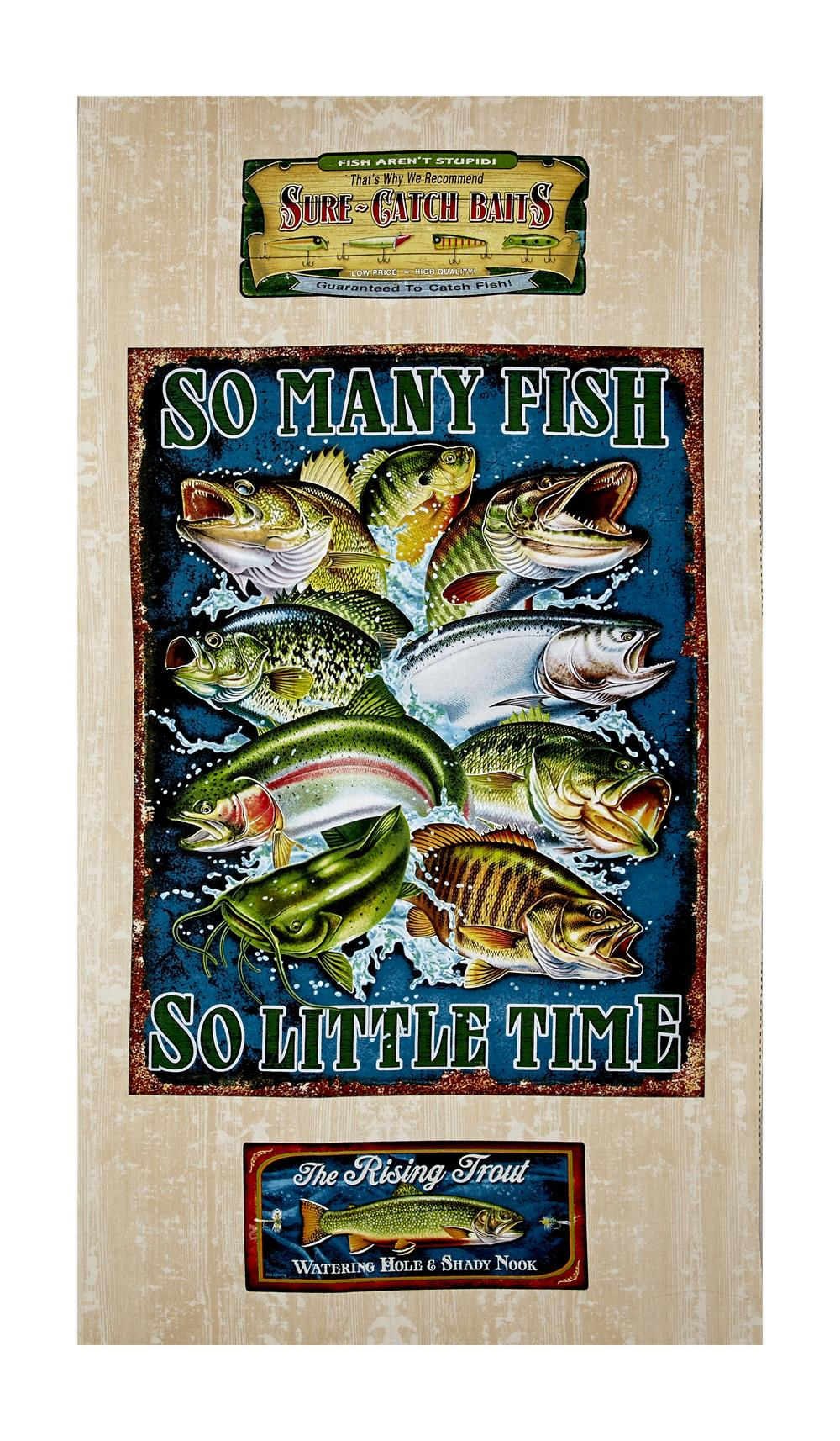 Quilting Treasures So Many Fish So Little Time So Many Fish  23.5'' Panel Cream Fabric