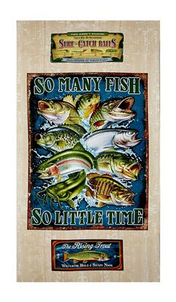 "Quilting Treasures So Many Fish, So Little Time So Many Fish  23.5"" Panel Cream"