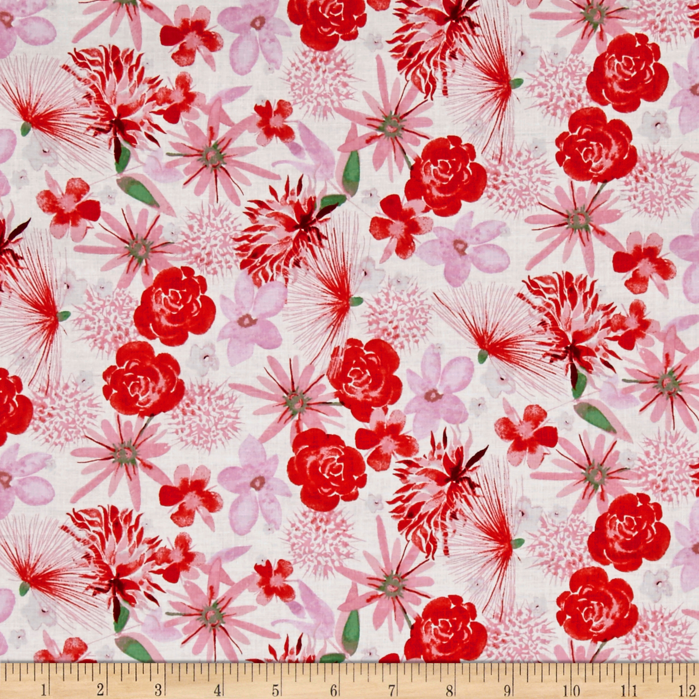 Baby Gone Wild Floral White Fabric by Clothworks in USA
