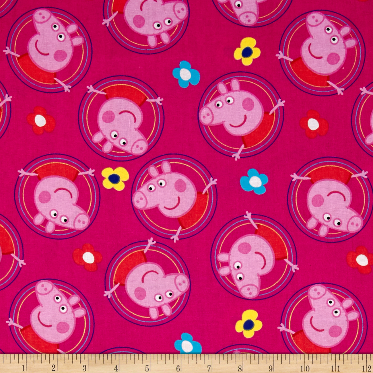 Peppa Pig Badges Pink Fabric by E. E. Schenck in USA