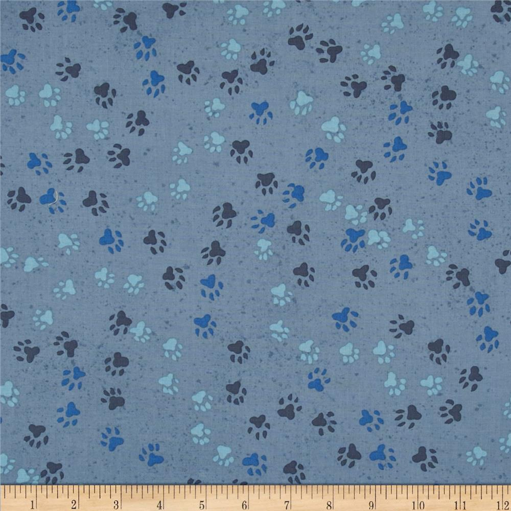 Dog Park Paw Print Blue