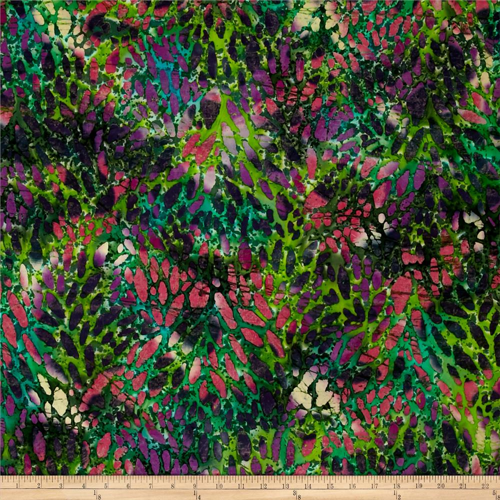 Indian Batik Cascades Stain Glass Green/Pink