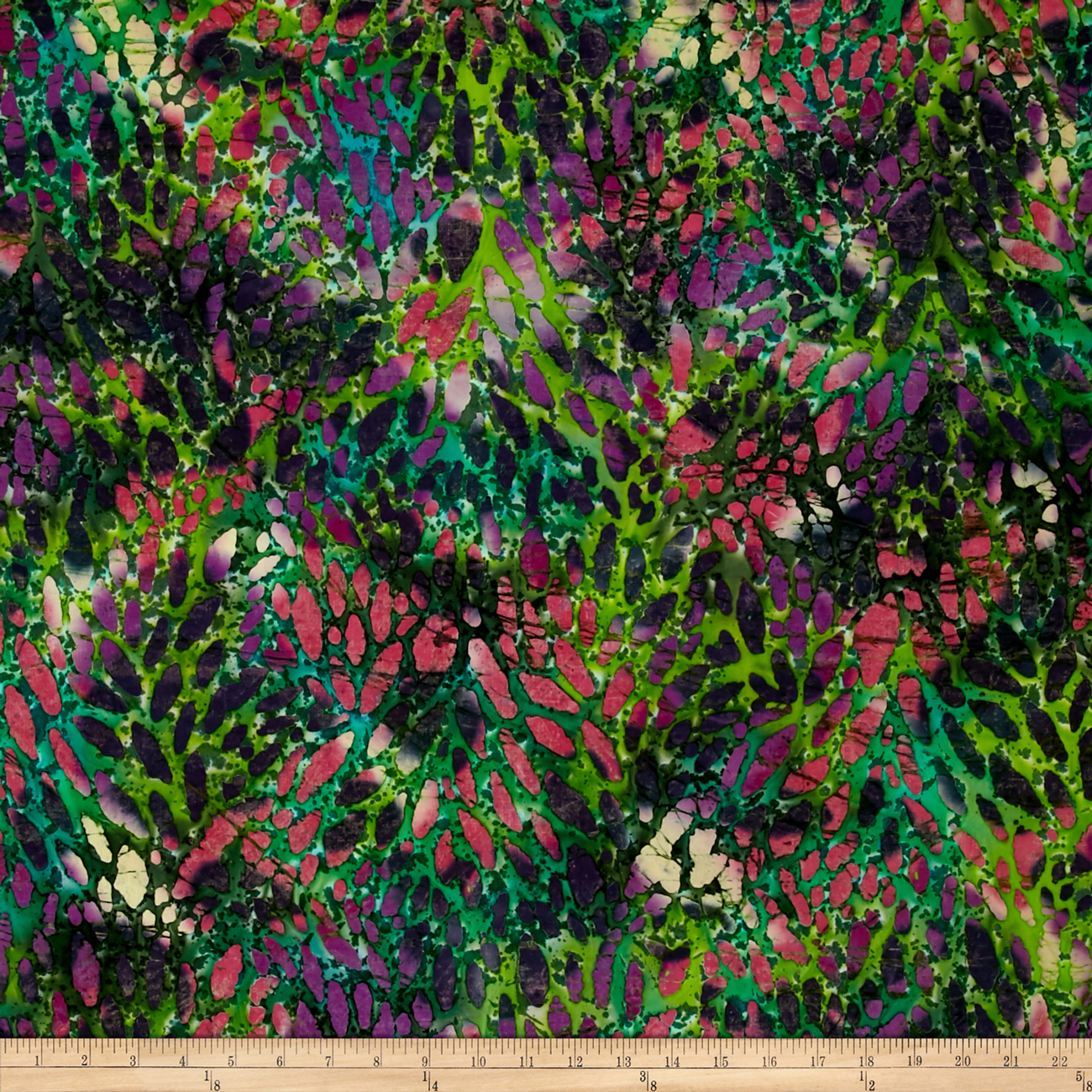 Indian Batik Cascades Stain Glass Green/Pink Fabric by Textile Creations in USA