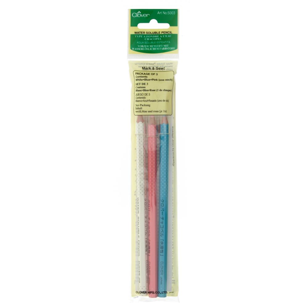 Clover Water Soluble Pencil-White, Pink & Blue